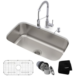 KRAUS 31-1/2 Undermount 1-Bowl Stainless Steel Kitchen Sink, KPF-1610 Pull Down Faucet, Soap Dispenser