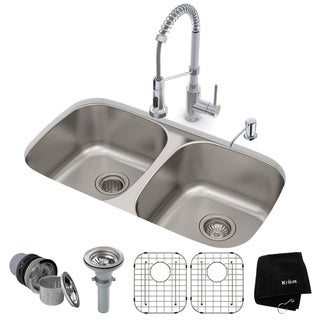 KRAUS 32-in Undermount 2-Bowl Stainless Steel Kitchen Sink, KPF-1610 Pull Down Faucet, Soap Dispenser