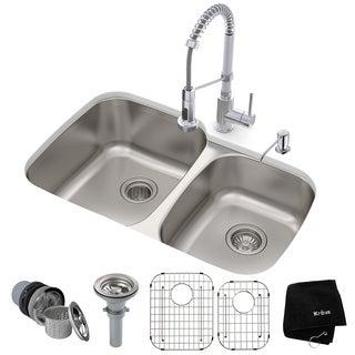KRAUS 32-in Undermount 2-Bowl Stainless Steel Kitchen Sink, KPF-1610 Pull Down Faucet, Soap Dispenser