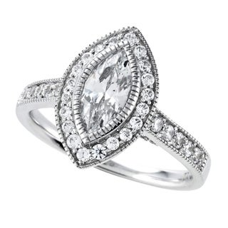 14k White Gold 1 1/3ct TDW Marquise Cut Diamond Halo Engagement Ring