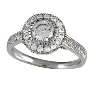 14k White Gold 1 1/3ct TDW Round Cut Diamond Halo Engagement Ring