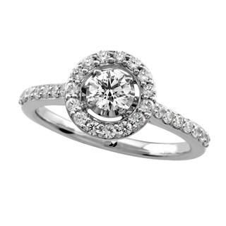 14k White Gold 3/4ct TDW Round Cut Diamond Halo Engagement Ring