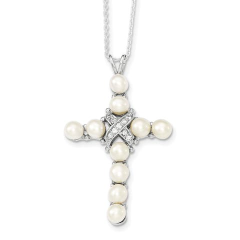 Versil Sterling Silver Rhodium-plated CZ and Freshwater Cultured Pearl Cross Necklace
