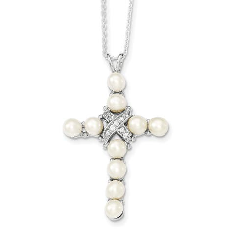 Sterling Silver Rhodium-plated Cubic Zirconia and Freshwater Cultured Pearl Cross Necklace by Versil