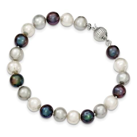 Sterling Silver 8-9mm Freshwater Cultured White/Platinum/Black Pearl Bracelet by Versil