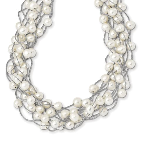 Sterling Silver Rhodium-plated 6-8mm White Freshwater Cultured Pearl Multi-strand Necklace by Versil