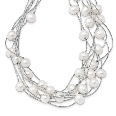 Sterling Silver Rhodium-plated 8-10mm White Rice Freshwater Cultured Pearl Multi-strand Necklace by Versil