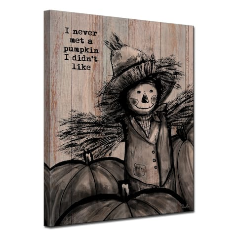 Olivia Rose 'Pumpkin Patch Scarecrow' Canvas Shabby Chic Fall Textual Wall Art