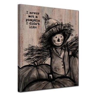 Ready2HangArt 'Pumpkin Patch Scarecrow' Wrapped Canvas Shabby Chic Fall Textual Wall Art - Brown