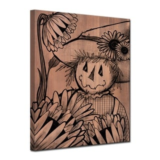 Ready2HangArt 'Sunflower Scarecrow' Wrapped Canvas Shabby Chic Fall Wall Art - Brown