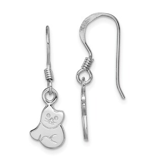 Versil Sterling Silver Rhodium-plated Child's Polished Cat Dangle Earrings