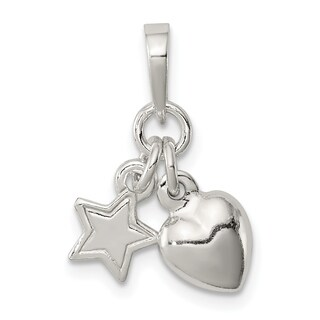 Versil Sterling Silver Heart and Star Pendant with 18-inch Chain