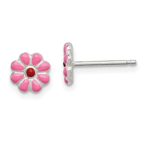 Versil Sterling Silver Enamel Flower Post Earrings