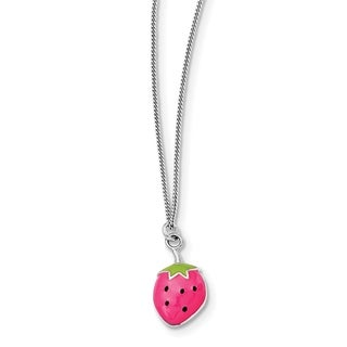 Versil Sterling Silver Rhodium-plated Enamel Strawberry 15.75-inch Necklace