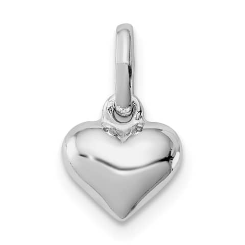Versil Sterling Silver Rhodium-plated Child's Polished Heart Pendant with 18-inch Chain