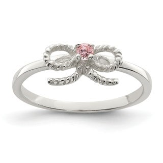 Versil Sterling Silver Pink CZ Bow Kid's Ring