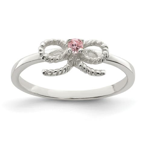Sterling Silver Pink CZ Bow Kid's Ring by Versil