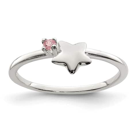 Sterling Silver Pink CZ Star Kid's Ring by Versil