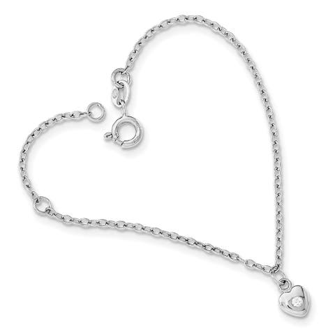Sterling Silver Rhodium-plated CZ with 1-inch Extension Heart Bracelet by Versil