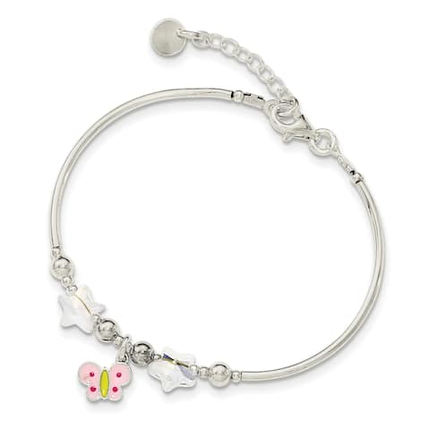 Sterling Silver Children's Enamel Butterfly Stars Bracelet by Versil