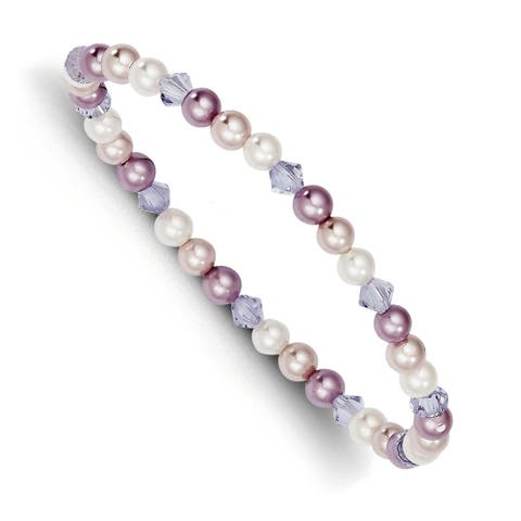 4mm Shell Bead Pink and Purple and Element Child Stretch Bracelet by Versil