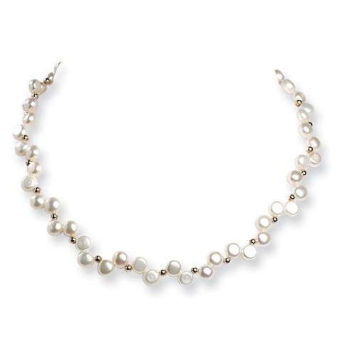 Versil Sterling Silver Freshwater Cultured Button Pearl 16-inch Necklace