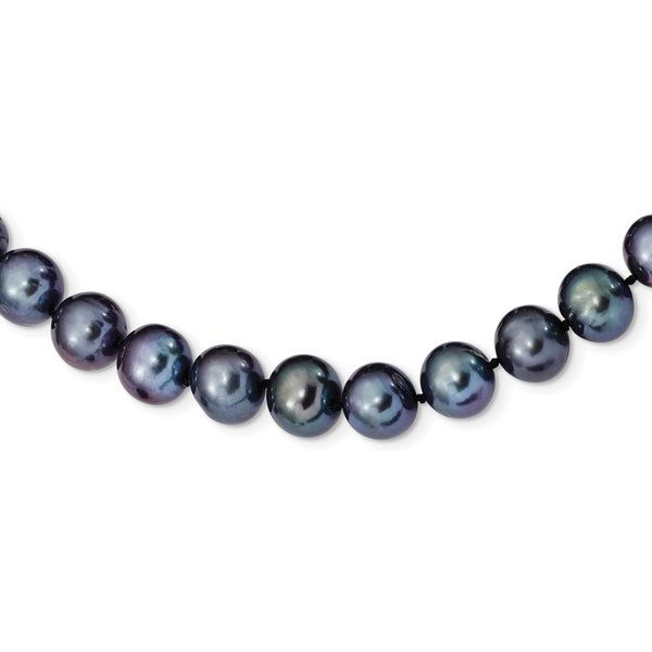 Versil Sterling Silver Rhodium-plated 10-11mm Black Freshwater Cultured Pearl Necklace