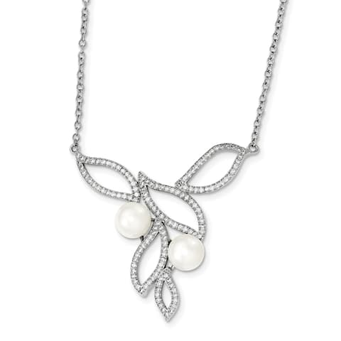 Versil Sterling Silver Rhodium-plated 8-9mm White Freshwater Cultured Pearl CZ Fancy Necklace with 1-inch Extension