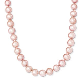 Versil Sterling Silver Rhodium-plated 9-10mm Pink Freshwater Cultured Pearl Necklace