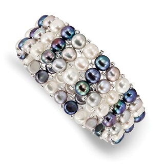Versil 6-7mm Button Freshwater Cultured Pearl and Acrylic Beads 3-row Stretch Bracelet