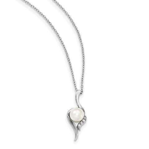 Versil Sterling Silver Rhodium-plated 6-7mm White Freshwater Cultured Pearl CZ Necklace