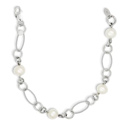 Sterling Silver Rhodium-plated Freshwater Cultured Pearl Bracelet by Versil