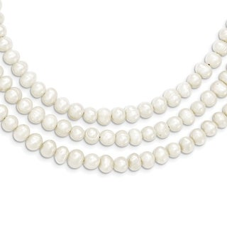 Versil Sterling Silver Triple Strand White Freshwater Cultured Pearl Necklace