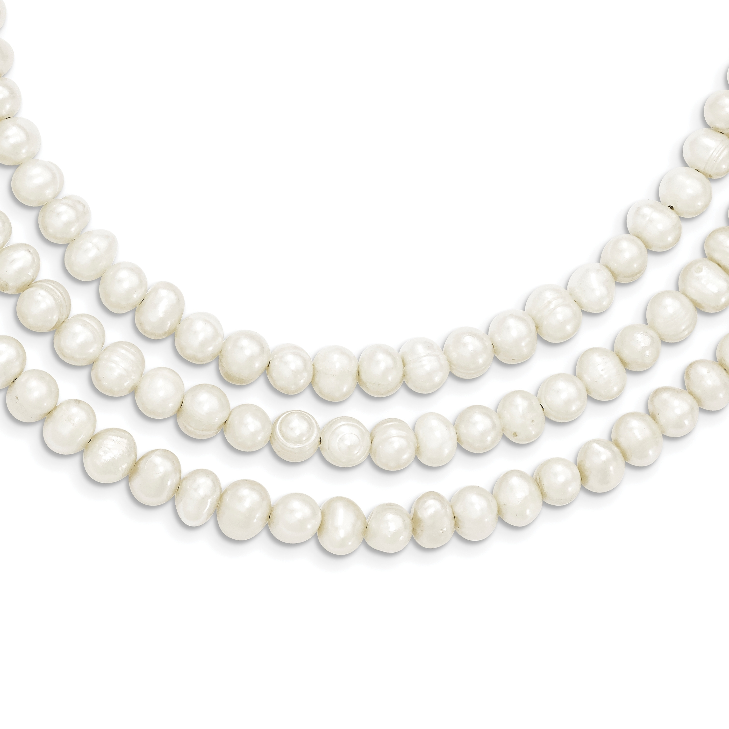 Sterling Silver 3 Strand White Freshwater Cultured Pearl Necklace for Women