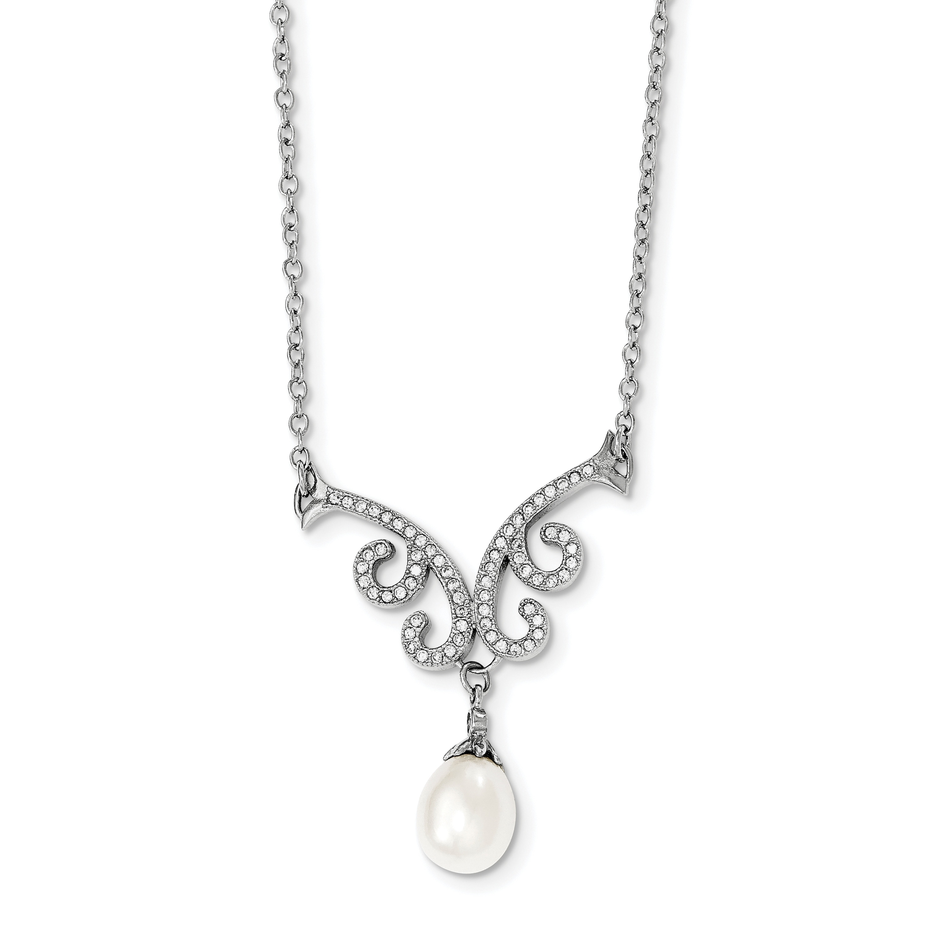 Sterling Silver RH-plated White FW Cultured Pearl w//2 Extension Necklace