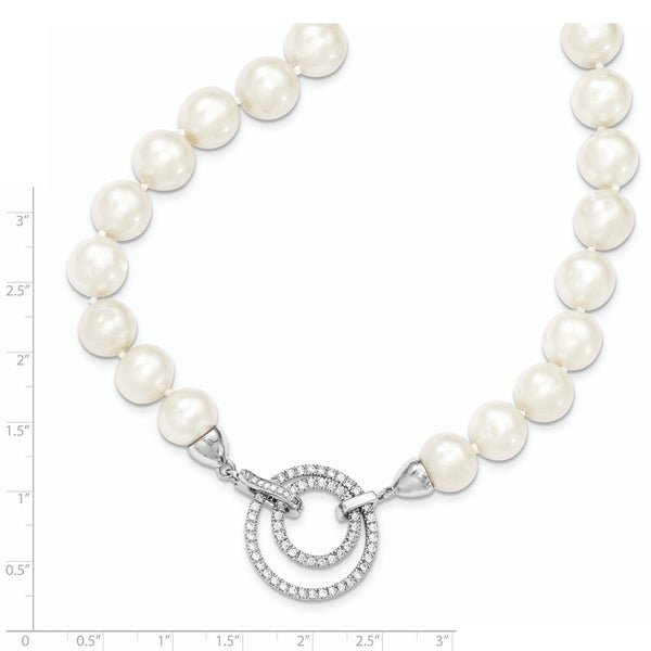 Sterling Silver 10-11mm White Freshwater Cultured Pearl Necklace