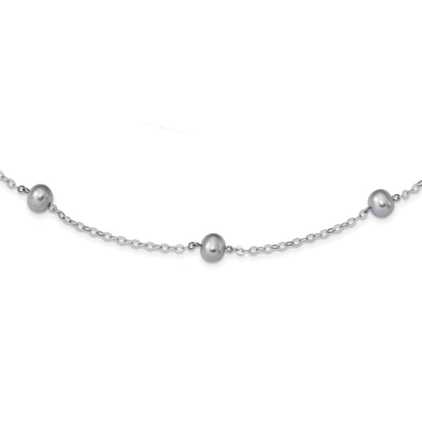 Versil Sterling Silver Rhodium-plated 7-8mm Grey Freshwater Cultured Pearl with 2-inch Extension Necklace