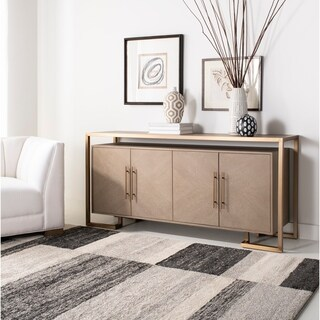 Safavieh Couture Claire 4 Door Buffet - Weathered Oak / Brass - 71 in w x 18 in d x 33 in h