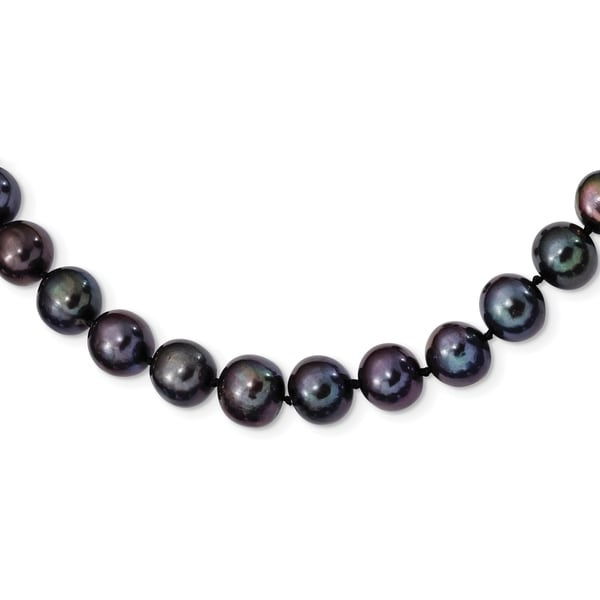 Versil Sterling Silver Rhodium-plated 9-10mm Black Freshwater Cultured Pearl Necklace