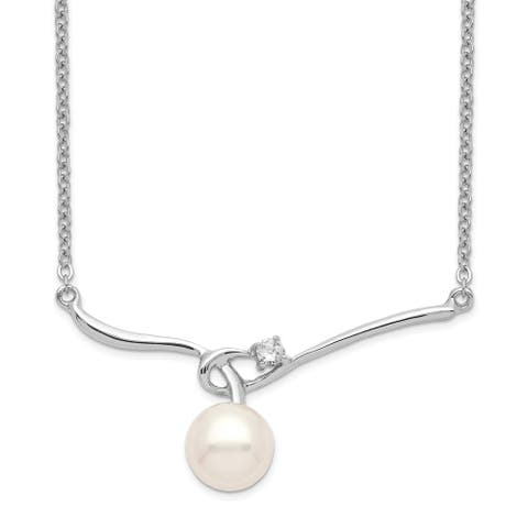 Sterling Silver Rhodium-plated 8-9mm White Button Freshwater Cultured Pearl Necklace by Versil