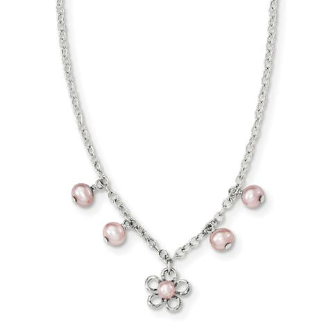 Sterling Silver Pink Freshwater Cultured Pearl Cable Chain with Flower Necklace by Versil
