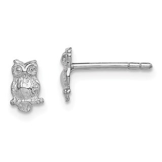 Versil Sterling Silver Rhodium-plated Child's Polished Owl Post Earrings