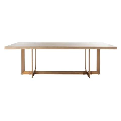 Safavieh Couture Quinn Dining Table - Grey Oak / Brass - Grey Oak - Grey Oak