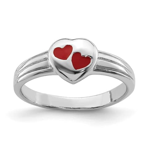 Versil Sterling Silver Rhodium-plated Child's Red Enameled Heart Ring