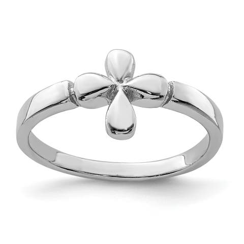 Versil Sterling Silver Rhodium-plated Child's Polished Cross Ring