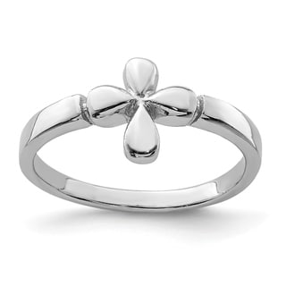 Link to Sterling Silver Rhodium-plated Child's Polished Cross Ring by Versil Similar Items in Children's Jewelry