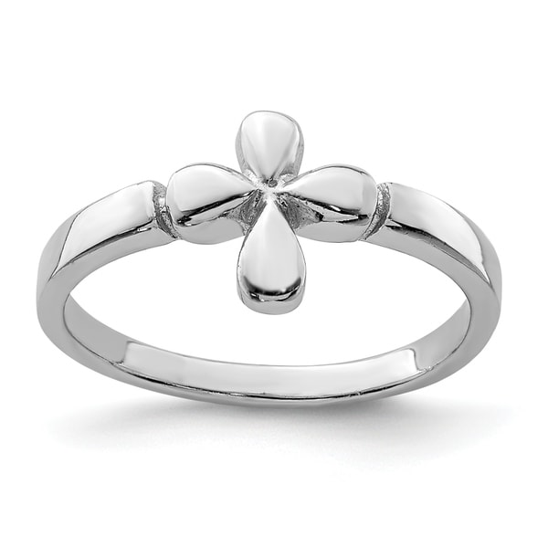 Sterling Silver Rhodium-plated Child's Polished Cross Ring by Versil. Opens flyout.