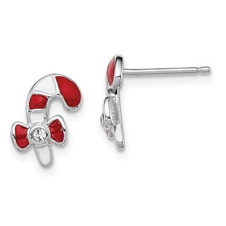 Versil Sterling Silver Rhodium-plated Enamel Candy Cane Earrings
