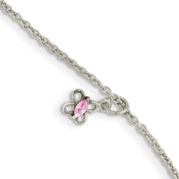 Sterling Silver Pink Cubic Zirconia with 1.5-inch Extension Butterfly Kid's Bracelet by Versil. Opens flyout.