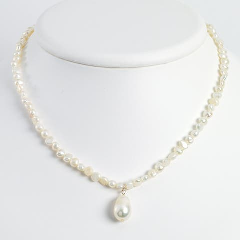 Versil Sterling Silver Freshwater Cultured Pearl Drop 18-inch Necklace